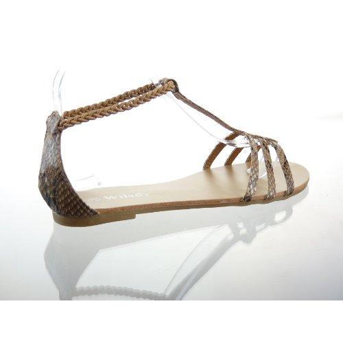 Kickly - Chaussure Mode Sandale Tong Claquettes cheville femmes Peau de serpent Talon bloc 1 CM - Intérieur cuir - Camel