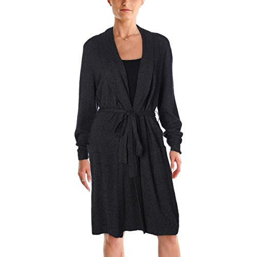 Lord & Taylor Womens Heathered Front Pockets Wrap Robe Gray L
