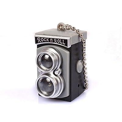 DaHanBL Mini LED Gris Camera Style son Porte-clés lampe torche double Lens Reflex
