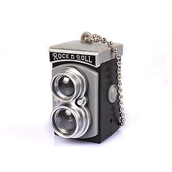 Primi LED flash light torch mini doble lente reflex cámara estilo sonido llavero (gris)