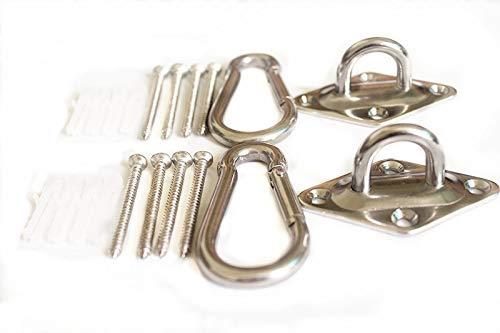 Size M6 600 lb Capacity Premium Hammock Hooks Best Hanging Kit for Indoor relaxation Set of Ceiling Hook Hanger, Spring Snap Hooks and Screws Durable Hammock Hooks Carabiners For Hammocks Indoor