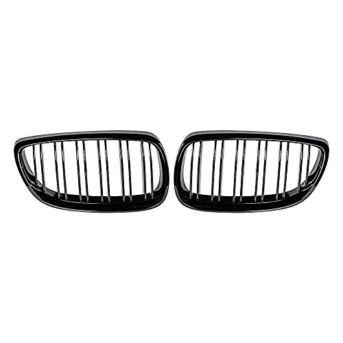 Astra Depot Kidney Grille Compatible with BMW 3-Series 07-10 E92 Coupe E93 Convertible 08-13 M3 2DR (Double Line, Glossy Black)