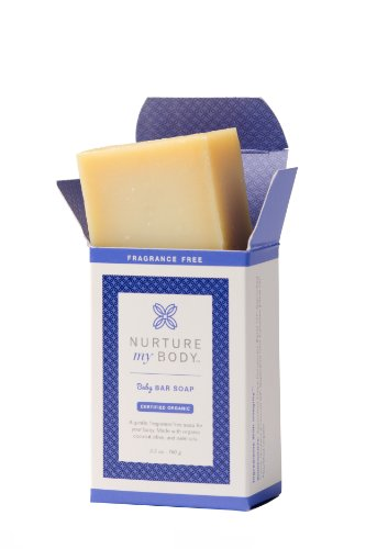 Nurture My Body All-Natural Baby Bar Soap, Fragrance Free, 3.5 oz. - Certified Organic Ingredients