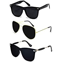 Sheomy UV Protected Avaitors and Wayfarers Sunglasses for Men and Women (Golden Brown) -Combo Set of 3