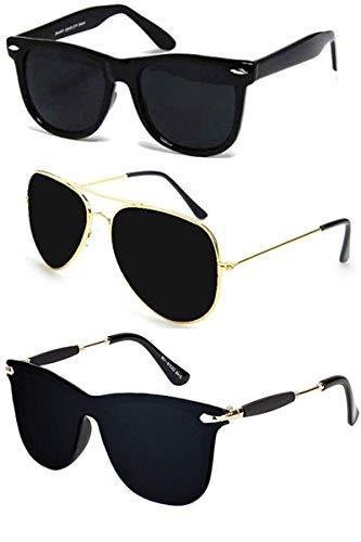 a7fb87ebdd3 Sheomy UV Protected Avaitors and Wayfarers Sunglasses for Men and Women  (Golden Brown) -Combo Set of 3  Amazon.in  Car   Motorbike