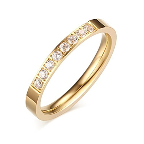 Womens 18k Gold Fashion Jewelry 3mm Stainless Steel Thin Wedding Ring CZ Zircon Engagement Promise Band