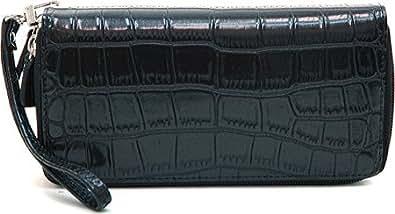 Dasein Women's Matte Croco Leather Like Dual Zip Compartment Wallet w/ Wristlet Strap -Black