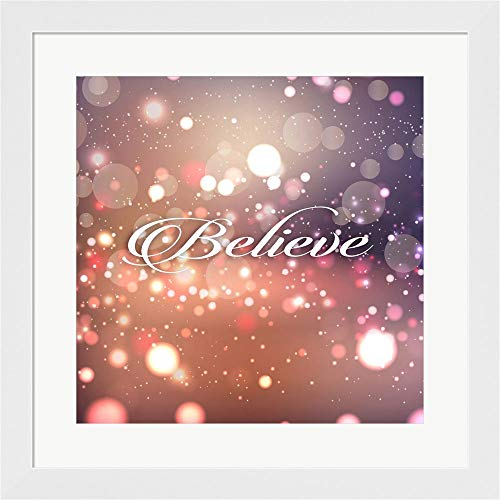 Tamara Bedroom Collection - Believe by Tamara Robinson Framed Art Print Wall Picture, White Flat Frame, 20 x 20 inches