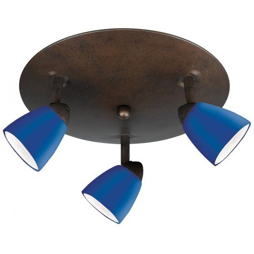 Cal Lighting SL-954-3R-BKBLS Spot Light with Cobalt Blue Shades, Black Finish
