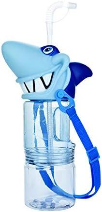 Toolmore Botella de Agua Jugo Bebida Divertida de Plástico Portátil Tiburón de Capacidad Grande Dibujos Animados Caldera de Doble Capa con Cuerda para Ni?o