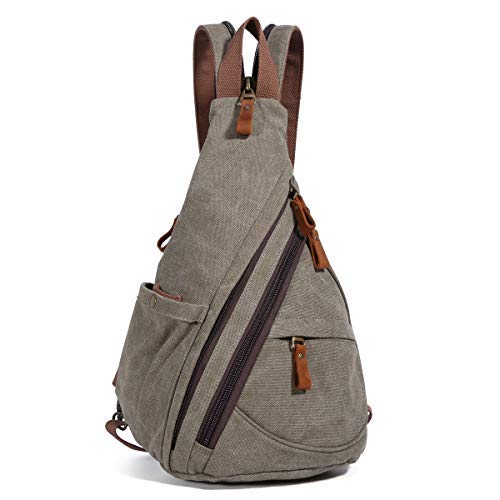 Canvas Sling Bag - Small Crossbody Backpack Shoulder Casual Daypack Chest Bags Rucksack for Men Women Outdoor Cycling Hiking Travel (6881-Olive Green) [並行輸入品] B07R4WVSK6