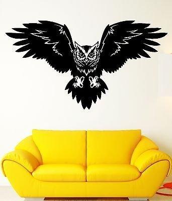 Wall Decal Bird Owl Predator Claws Wings Flying Wisdom Vinyl Decal VS352