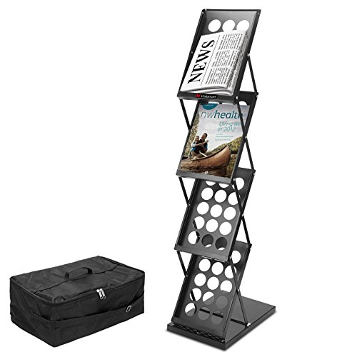 "Voilamart Portable Pop-up Folding Display Magazine Brochure Catalog Literature Holder Rack Stand, 4 Pockets 15""H x 9""W, 49"" Tall, for Tradeshow Showroom Booth Office Retail Store w/Carry Bag"
