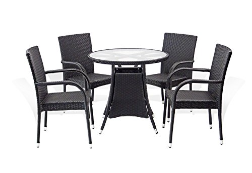 5 Pc Patio Resin Outdoor Wicker Dining Set. Round Table w/Glass+4 Arm Chair. Black Color Review