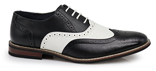 Dress up Wood8 Men's Two Lace Oxfords Tone Perforated Wingtips Shoes 8S0qf8