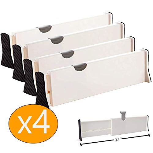 MulYeeh 4 PCS Expandable Drawer Dividers, Adjustable Dresser Drawer Divider, Separators Organize Silverware and Utensils, Wardrobe Storage Organization