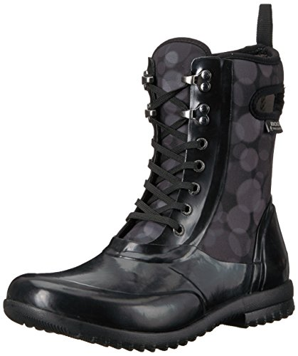 Bogs Women's Sidney Lace Rain Snow Boot,Black/Multi,7 M US