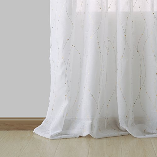 - Deconovo Sheer Curtain White 84 Rod Pocket Wave Line with Dots Linen Look Window Curtain for Dining Room 52W x 84L Gold 1 Panel