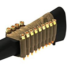 Tan 13 Round Rifle Ammo Cartridge Hunting Stock Buttstock Slip Over Carrier Holder Fits .308 308 Federal Arms HK91 G3 Ambidextrous Bolt Lever Pump Action Sniper Hunting Rifle
