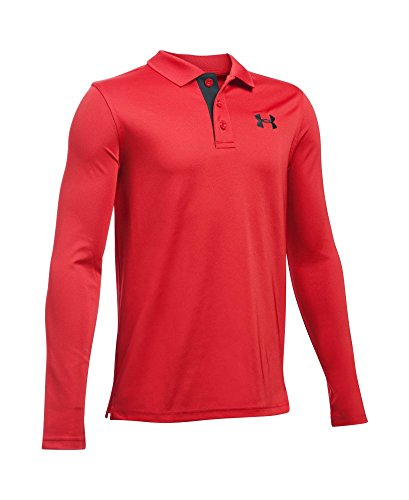 Under Armour Boys' Match Play Long Sleeve Polo, Red/Black, Youth Large