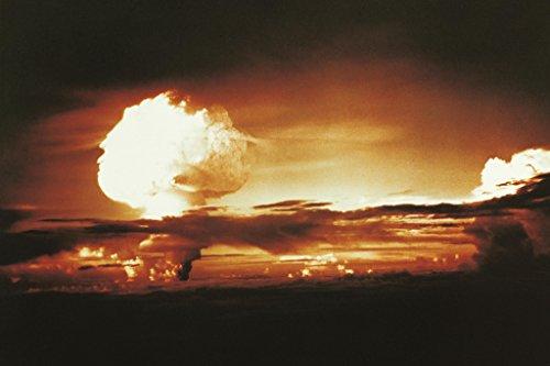 Nuclear Bomb Test Bikini Atoll and Enewetak 1952 Photo Sepia Art Print Poster 18x12 inch