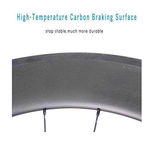 ICAN 86mm Tubular Triathlons/Road Bike Carbon Wheelset Basalt Brake Surface 20/24 Holes 1700g by ICAN (Image #3)