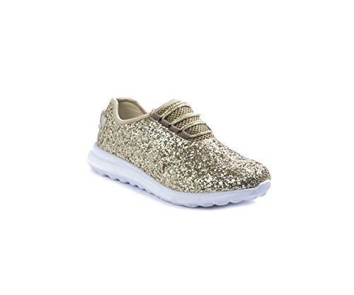 Pour Toujours Lier Les Femmes De Mode Léger Paillettes Chaussure Lacets Bas Bas Élégant Sneaker (8, Platine)