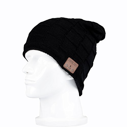 Onedayshop Wireless Knitted Beanie Built-in Stereo Speaker for listening music Hands Free Call Answer Hat (black1)
