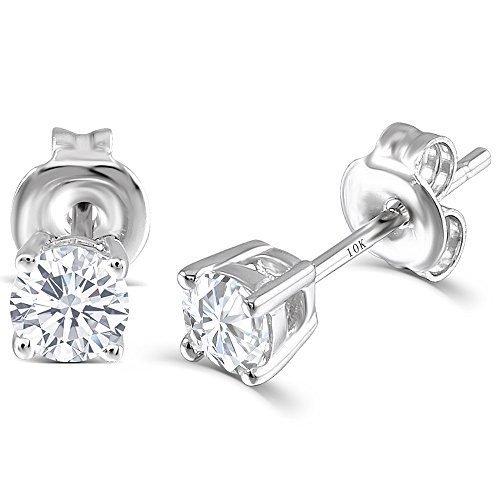 10K White Gold Post 0.5CTW 4MM H-I Color Moissanite Stud Earrings Platinum Plated Silver Push Back by TransGems
