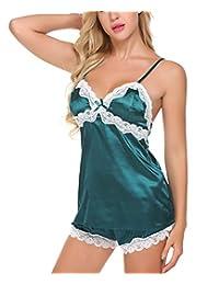 Avidlove Women Sleepwear Satin Pajamas Set Silky Nightwear Lace Cami Shorts