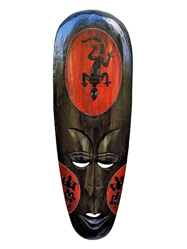 African Tribal Mask - All Seas Imports Gorgeous Unique Hand Chiseled Wood African Style Wall Decor Mask Gecko Design!