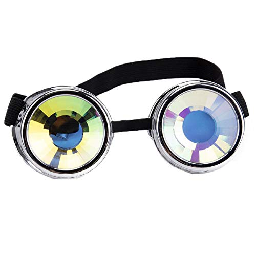 Kaleidoscope Steampunk Goggles Vintage Cosplay Rave Glasses Rainbow Prism Crystal Lenses ()