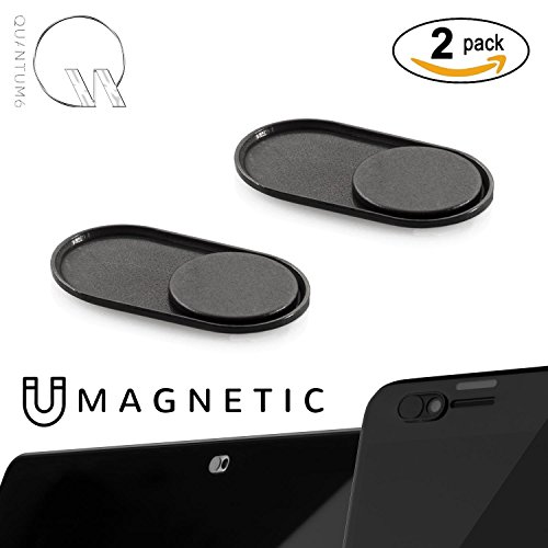 QUANTUM EYE - MAGNETIC (Black) - NEWEST ULTRA THIN MAGNETIC SLIDER METAL WEBCAM COVER for iPhone Android Laptops Macbooks Tablets Smartphones -for PRIVACY and PROTECTS against camera hacks (2-PACK) Magnetic Screen Cover