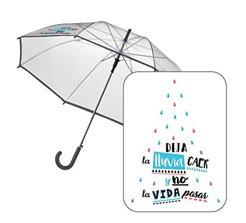 Sencillo paraguas con frases estampadas.
