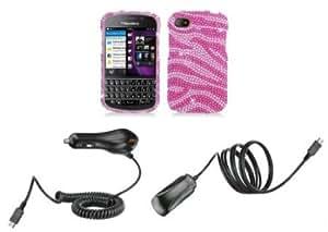 Quaroth BlackBerry Q10 - Premium Accessory Kit - Pink Zebra Stripes Diamond Bling Case + ATOM LED Keychain Light + Wall...