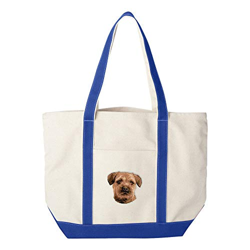 (Cherrybrook Dog Breed Embroidered Canvas Tote Bags - Royal Blue - Border Terrier)