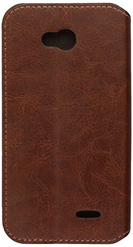 Asmyna MyJacket Wallet with Tray for LG MS323 Optimus L70 - Retail Packaging - Brown (Lg L70 Optimus Case Brown)