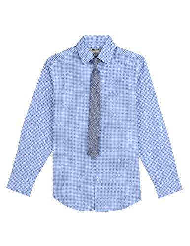 Kenneth Cole Boys' Big Long Sleeve Dress Shirt and Tie Set, Confetti Blue 18