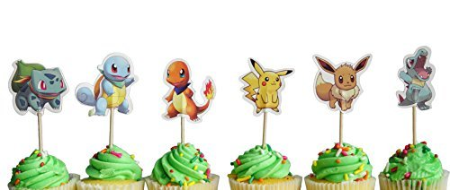 Set of 24 Pokemon inspired Cupcake Toppers food picks double sided