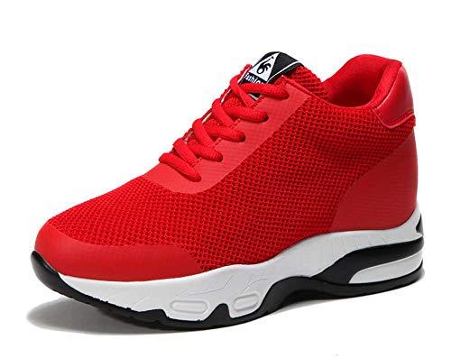 GLSHI Zapatillas Deportivas Transpirables para Mujeres Otoño Zapatillas Deportivas livianas Four Seasons Casual Fitness Shoes Rojo