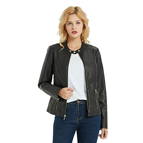 PANAPA Women's Smooth Touch Faux Leather Jacket with Zipper Closure, Banded Collar ()