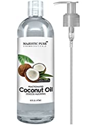 Majestic Pure Fractionated Coconut Oil, For Aromatherapy Relaxing Massage, Carrier Oil for Diluting Essential Oils, Hair & Skin Care Benefits, Moisturizer & Softener - 16 Ounces