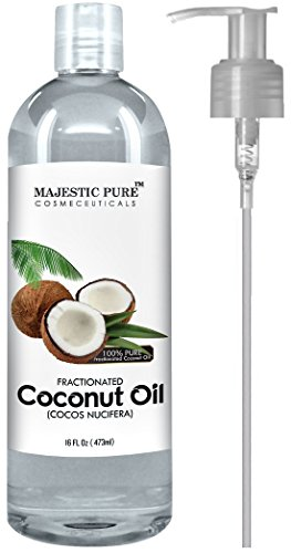Majestic Pure Fractionated Coconut Oil, For Aromatherapy Relaxing Massage, Carrier Oil for Diluting Essential Oils, Hair & Skin Care Benefits, Moisturizer & Softener - 16 fl Oz. Cream Spray Lip Gloss