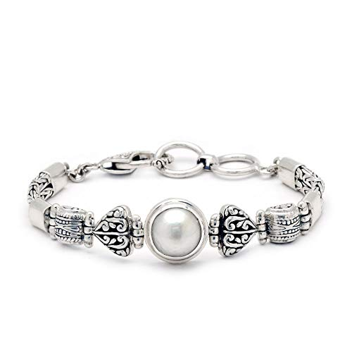 925 Sterling Silver Bracelet with 12mm Natural Round Mobe Pearl with Balinese Lobster Clasp for Women and Jewelry Gift, Length Size 7 Inches with 925 Stamp, Handmade Jewelry ()