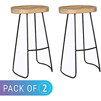 Outstanding Amazon Com Festnight Vintage Gavin Bar Stools Solid Mango Caraccident5 Cool Chair Designs And Ideas Caraccident5Info