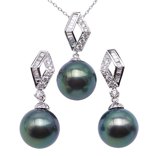 JYX 18K Gold 10-10.5mm Peacock-green Tahitian Cultured Pearl Pendant Necklace and Earrings Jewelry Set