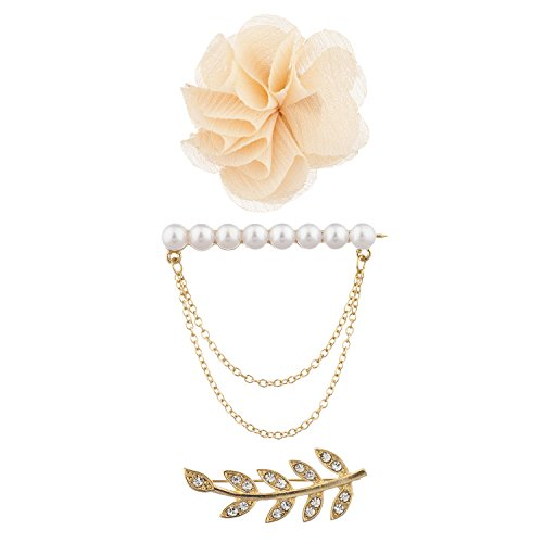Lux Accessories Gold Tone Faux Pearl Leaves Flower Novelty Brooch Pin Set 3PC ()