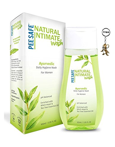 PEESAFE - Natural & Ayurvedic Daily Intimate Hygiene Wash with pH Balanced - Enriched with Witch Hazel & Tea Tree Essential Oil - 105ml/3.55 FL OZ - Free 3D Key Ring. ()