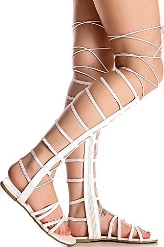 Lolli Couture Per Sempre In Ecopelle Materiale Posteriore In Pelle Con Cerniera Disegno Multi-ritaglio Open Toe Sandali Alti Al Ginocchio Bianco-raku-65s
