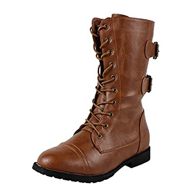 West Blvd Womens CAIRO COMBAT Boots Lace Up Military Army Motorcycle Biker Flat Mid Calf Shoes, Tan Pu, US 6.5